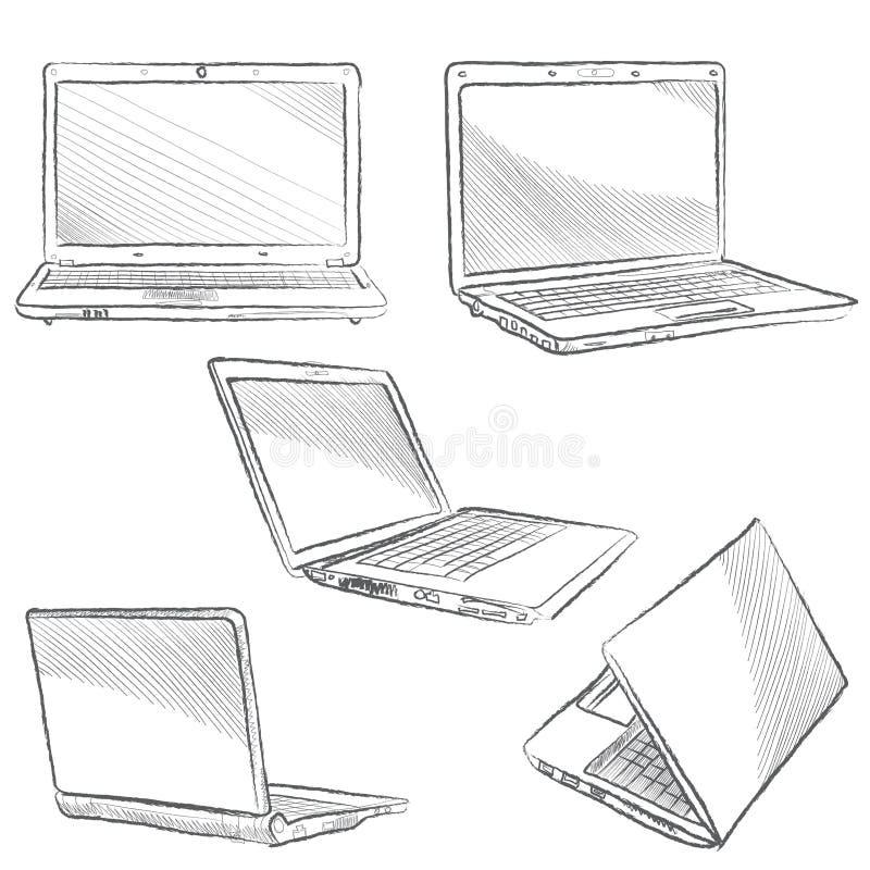 Laptopsatz. Notizbuchskizzenikonen stock abbildung