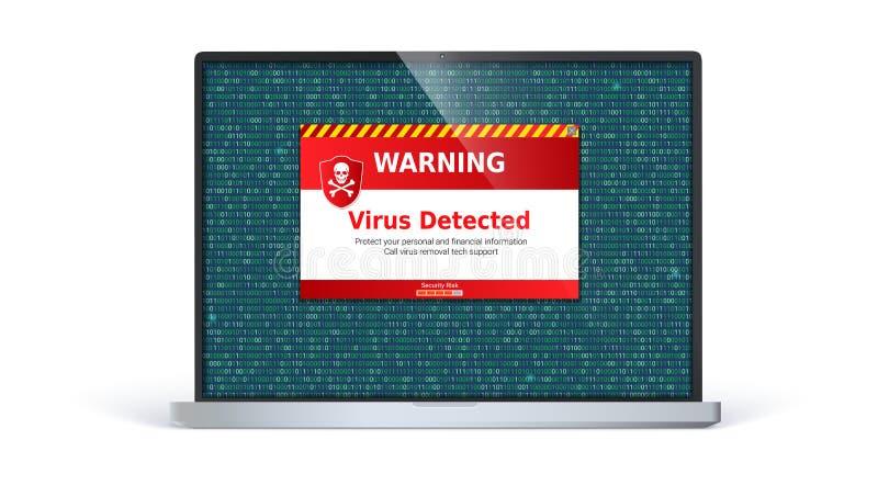 Laptopschirm mit der wachsamen Mitteilung des Virus ermittelt Warnung auf dem Bildschirm lokalisiert auf weißem Hintergrund vektor abbildung