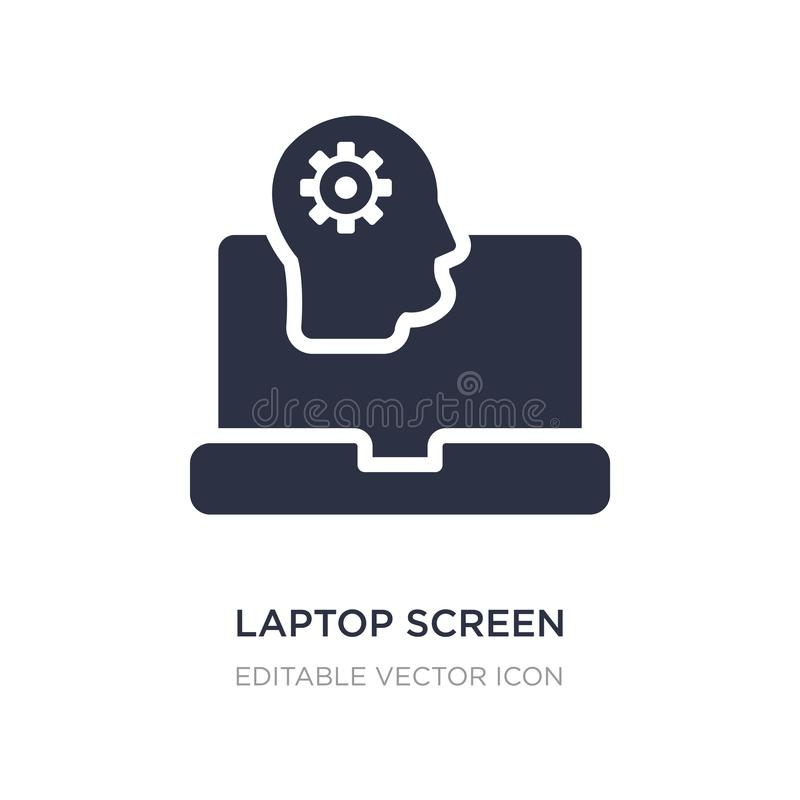 Laptopschirm mit grafischer Ikone des menschlichen Kopfes auf weißem Hintergrund Einfache Elementillustration vom Computerkonzept lizenzfreie abbildung