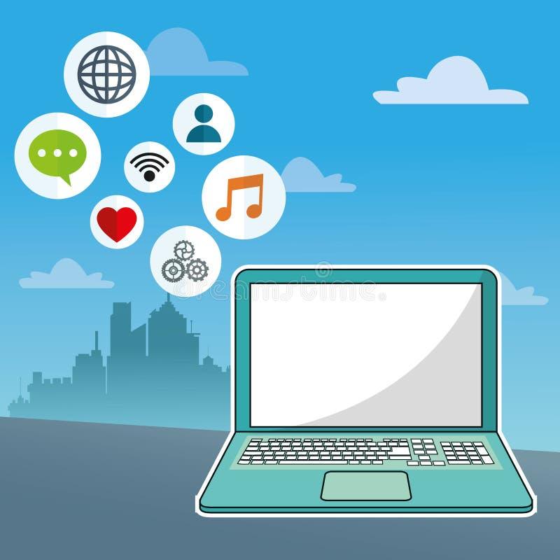 Laptopsocial media-Kommunikationsnetz-Stadthintergrund stock abbildung
