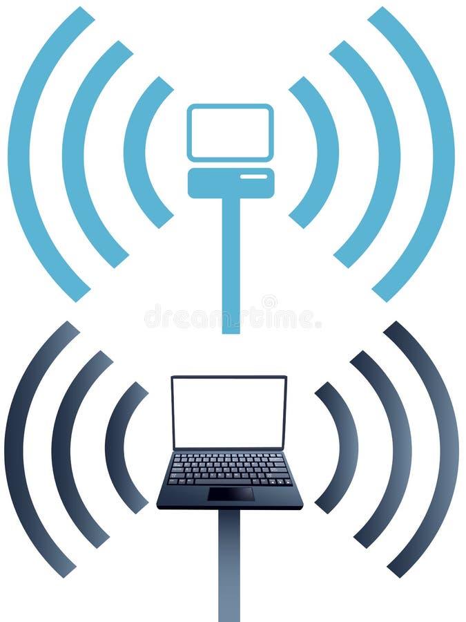 Laptopsymbole wifi drahtloses Computernetz vektor abbildung