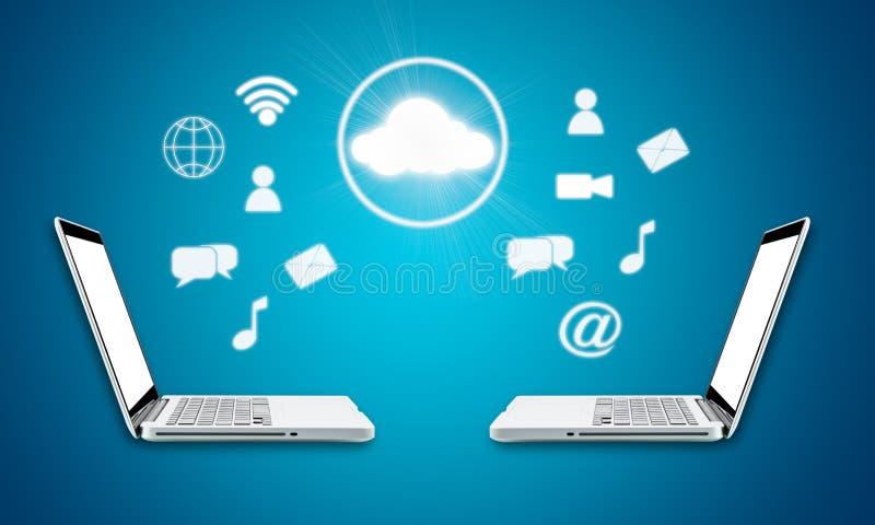 LAPTOPtechnologie-Zusammenhangkonzept der Wolke Datenverarbeitungs lizenzfreie abbildung