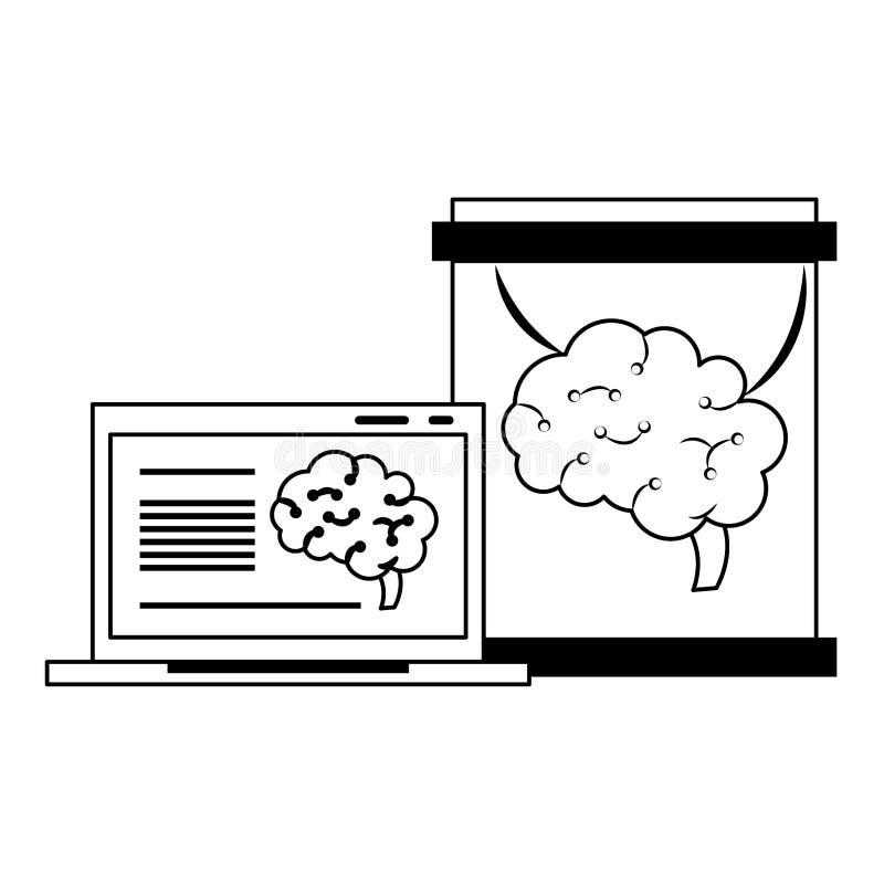Laptopu analizing m?zg w kolbiastej sztucznej inteligencji w czarny i bia?y ilustracja wektor