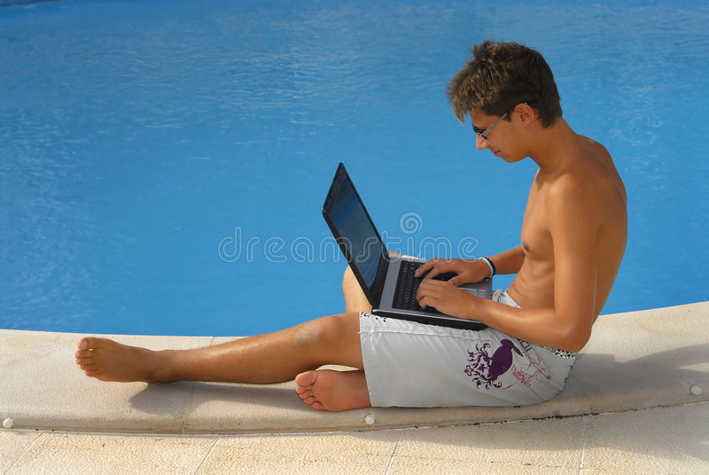 laptopu basen obraz royalty free
