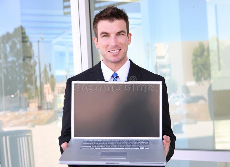 laptopu biznesowy mężczyzna obraz stock