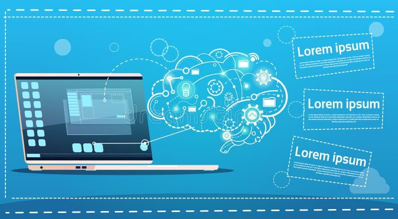 Laptopu Brainstorming odprawy pomysłu pojęcia biznesu Kreatywnie sztandar royalty ilustracja
