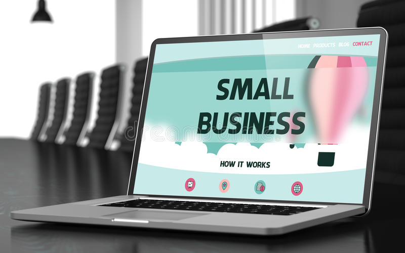 Laptopu ekran z małego biznesu pojęciem 3d royalty ilustracja