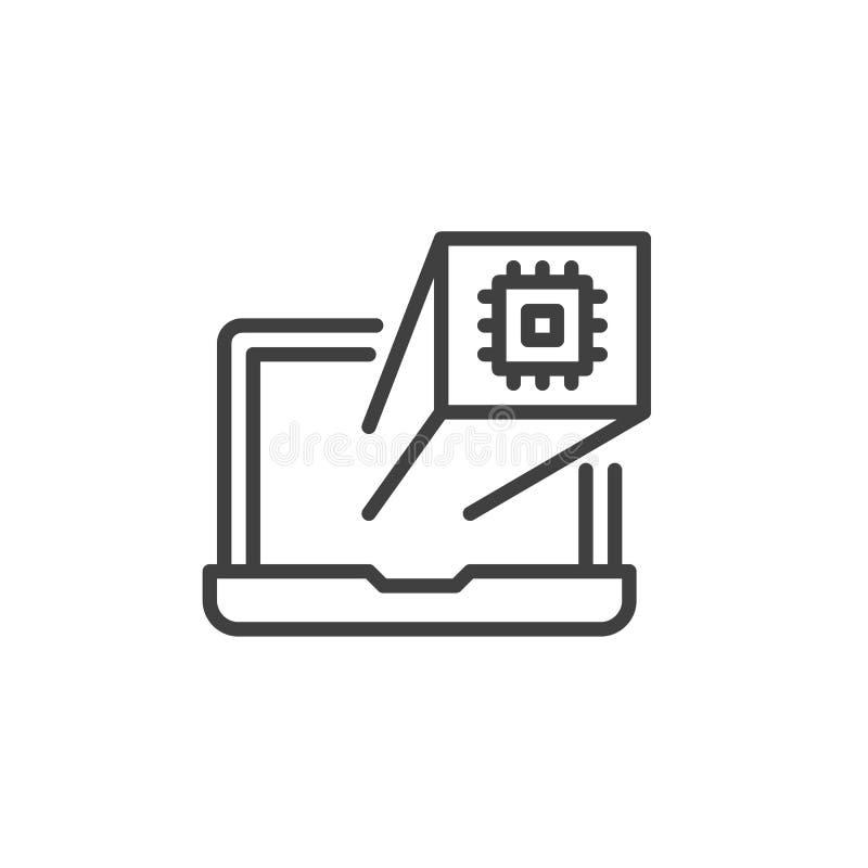 Laptopu ekran z procesor linii ikoną ilustracja wektor