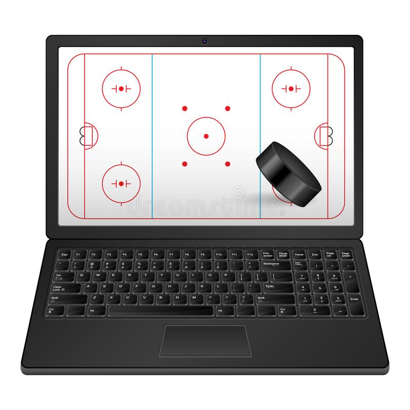 Laptopu hokej ilustracji