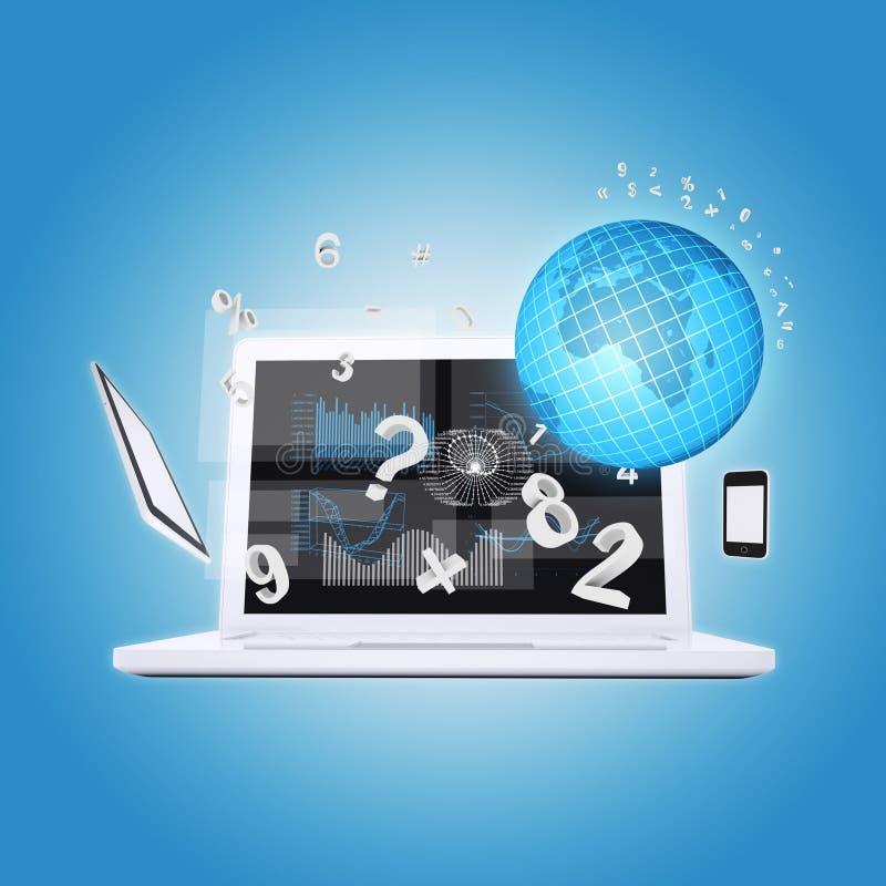 Laptopu i biura rzeczy royalty ilustracja