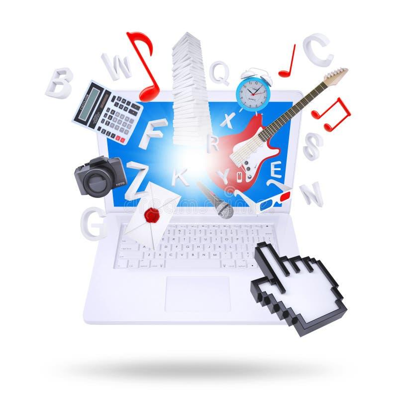Laptopu i multimedii przedmioty royalty ilustracja