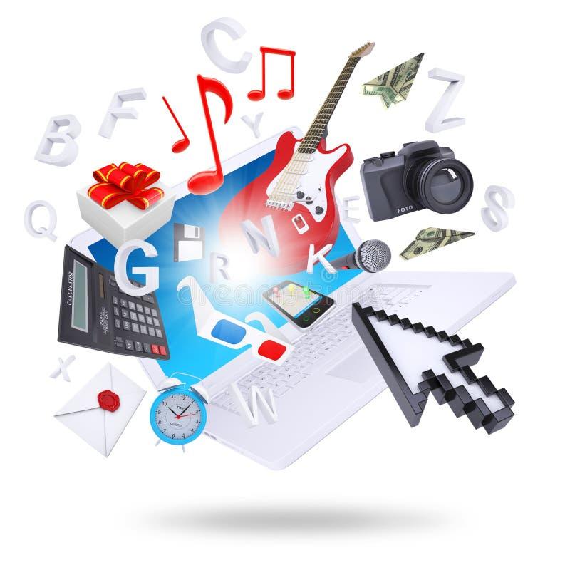 Laptopu i multimedii przedmioty ilustracja wektor