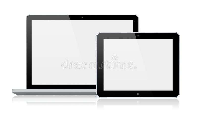 Laptopu i pastylki komputer osobisty ilustracji
