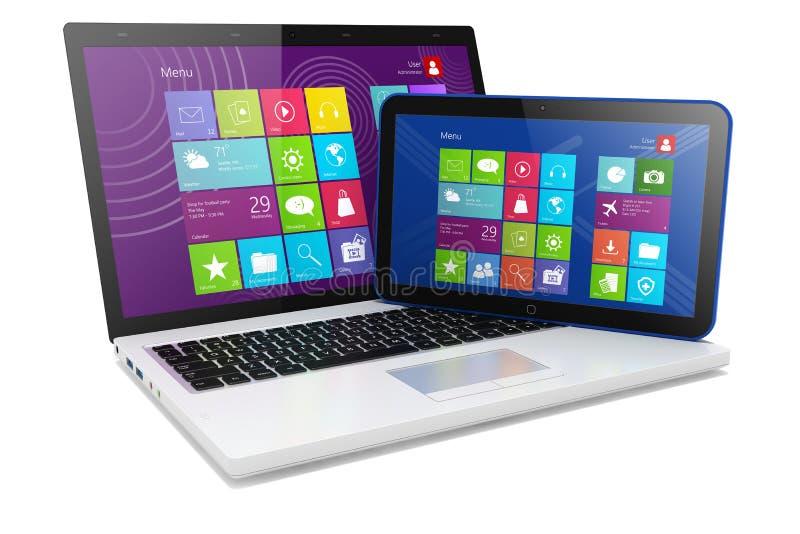 Laptopu i pastylki pecet royalty ilustracja