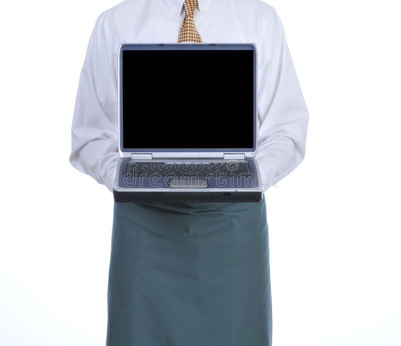 laptopu kelner zdjęcie stock