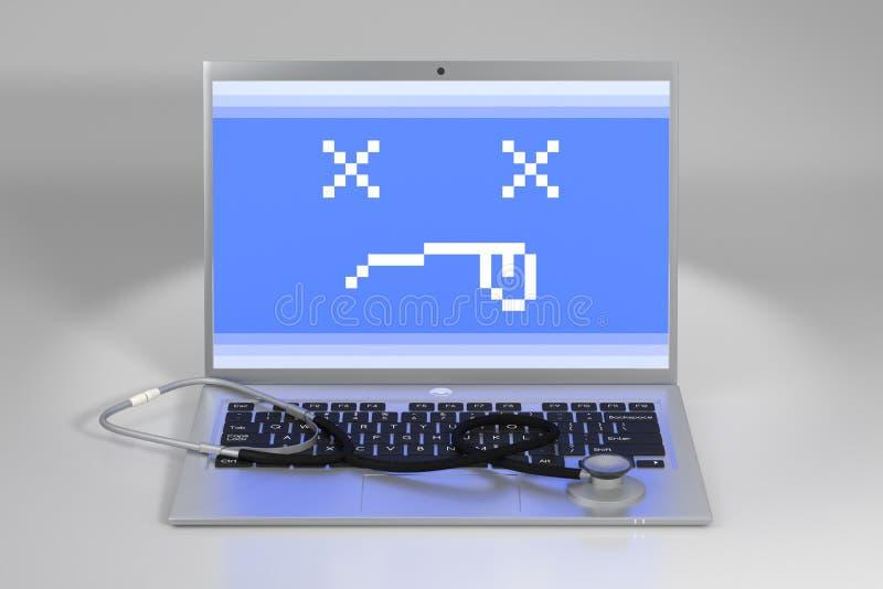 laptopu klawiaturowy stetoskop ilustracja wektor
