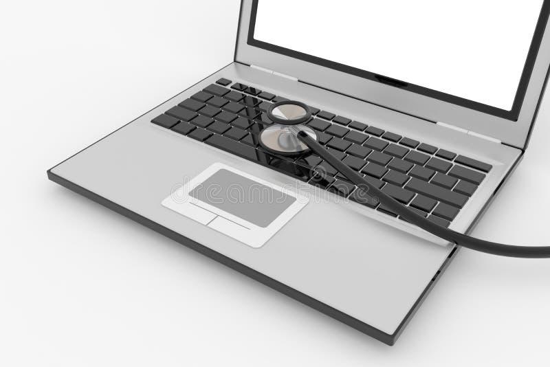 laptopu klawiaturowy stetoskop s ilustracja wektor