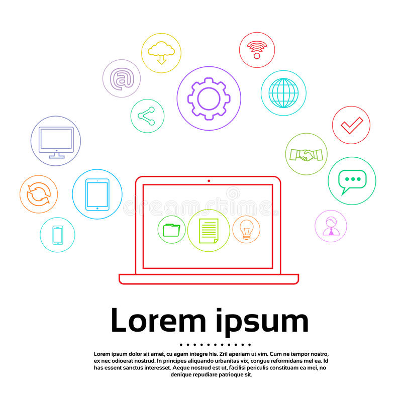 Laptopu loga ikony Ustalony Komputerowy Prosty związek royalty ilustracja