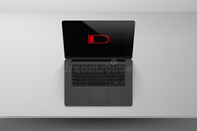 Laptopu lub notatnika egzaminu próbnego up przedstawienia czerwona niska bateryjna ikona ilustracja wektor