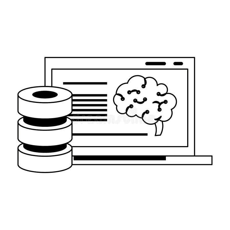 Laptopu ludzkiego mózg analizing sztuczna inteligencja w czarny i biały ilustracja wektor