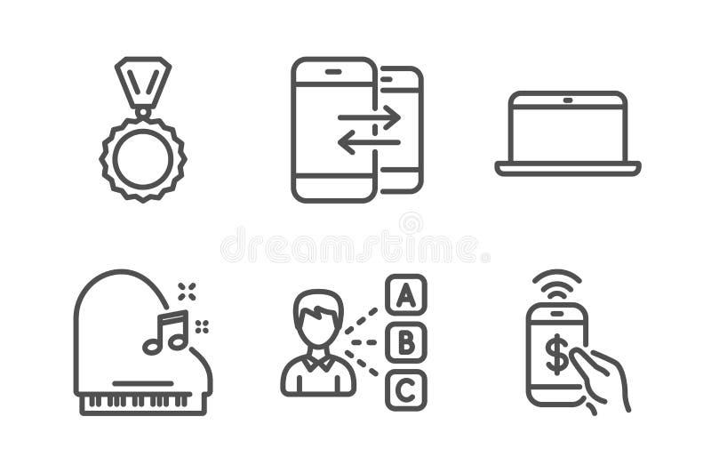 Laptopu, medalu i opinii ikony ustawiać, Pianino, telefon komunikacja i telefonów płatniczy znaki, wektor royalty ilustracja