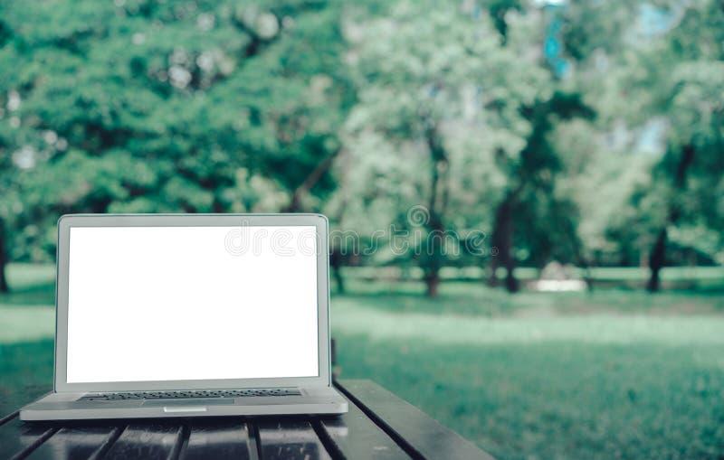Laptopu notatnik na parkowym pojęciu obraz stock