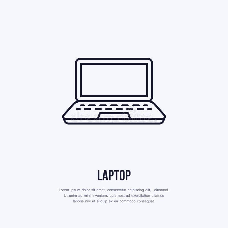 Laptopu notatnik z pustego ekranu kreskowego stylu płaską ikoną Technologia bezprzewodowa, przenośnego komputeru znak również zwr ilustracji