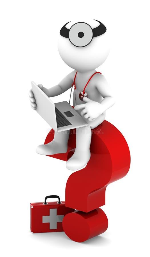 laptopu oceny student medycyny pytania czerwony sittting ilustracji
