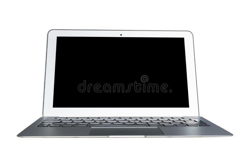 Laptopu pecet z pustego ekranu egzaminem próbnym up odizolowywającym na białym tle Laptop odizolowywający ekran Pastylka bielu ek obrazy stock