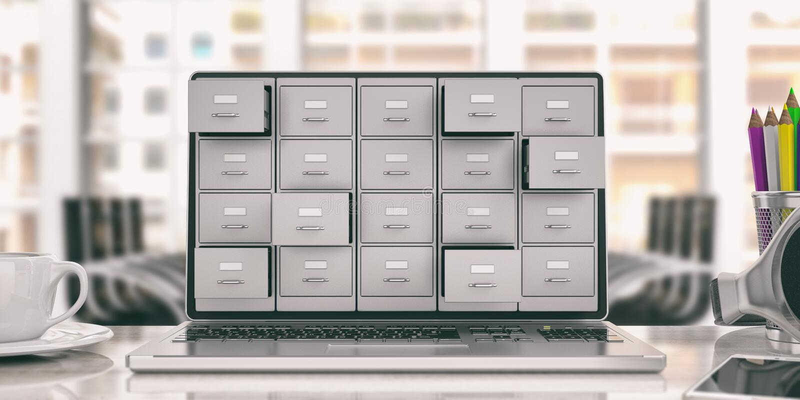 Laptopu przechowywanie danych Segregowanie gabinet na laptopu ekranie ilustracja 3 d ilustracja wektor