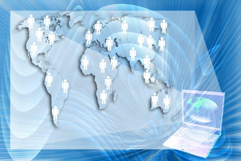 laptopu przedstawienia Ludzka sieć na błękitnym tle. ilustracja wektor