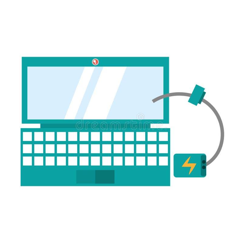 laptopu przyrządu technologii cyfrowa kablowa ładowarka ilustracja wektor