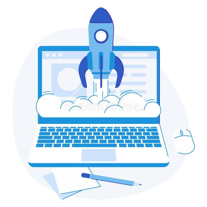 Laptopu rozpocz?cie Sieci strategii sukcesu wodowanie rakiety kreatywnie logo, biznesowych rozwi?za? p?aska wektorowa ilustracja ilustracja wektor