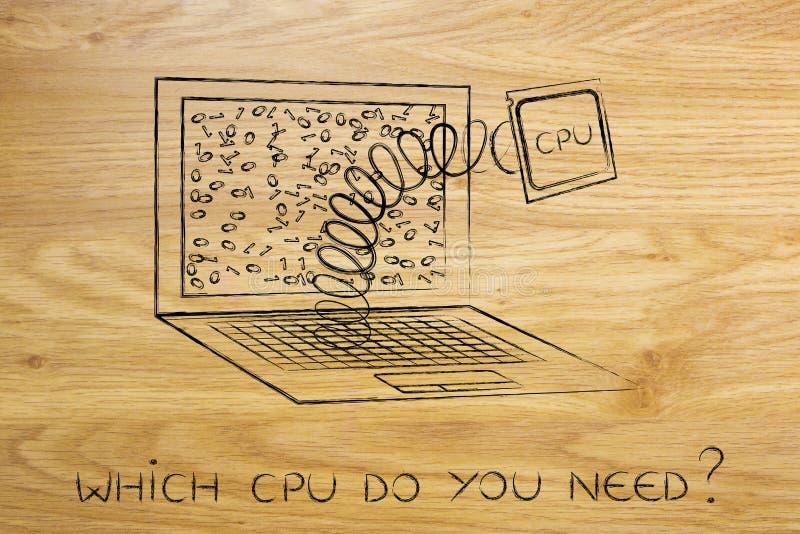 Laptopu ` s jednostki centralnej moduł out na wiośnie zdjęcie stock
