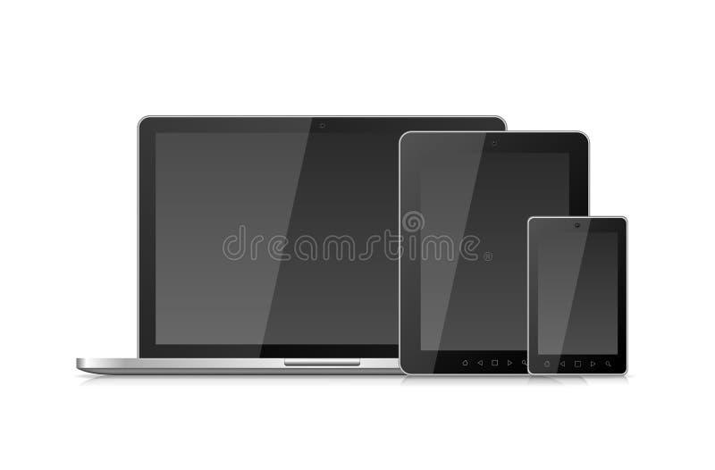Laptopu Smartphone pastylki i wiszącej ozdoby pecet z pustym miejscem royalty ilustracja