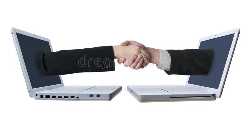 Laptopu Uścisk dłoni 2 zdjęcie royalty free