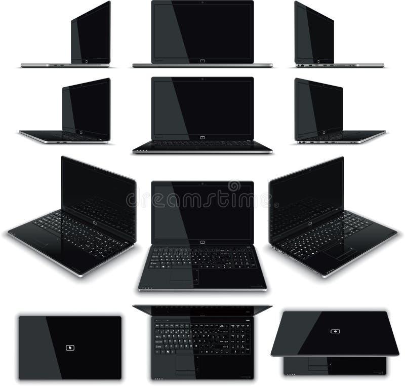 Laptopu 12 widoków zestaw royalty ilustracja