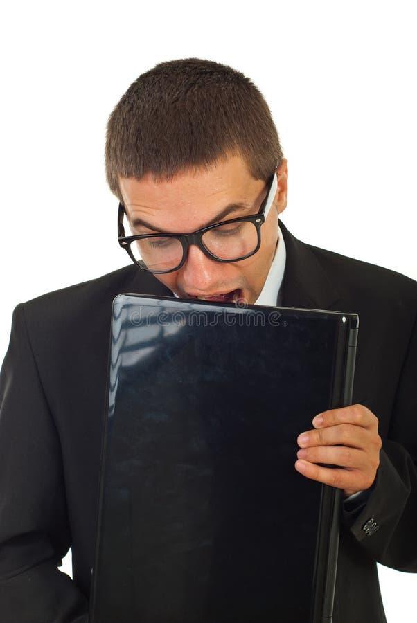 laptopu zjadliwy biznesowy szalony mężczyzna zdjęcia royalty free
