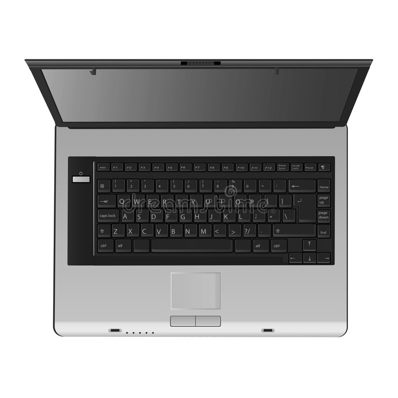 Laptopvektor (Draufsicht) lizenzfreie stockfotografie