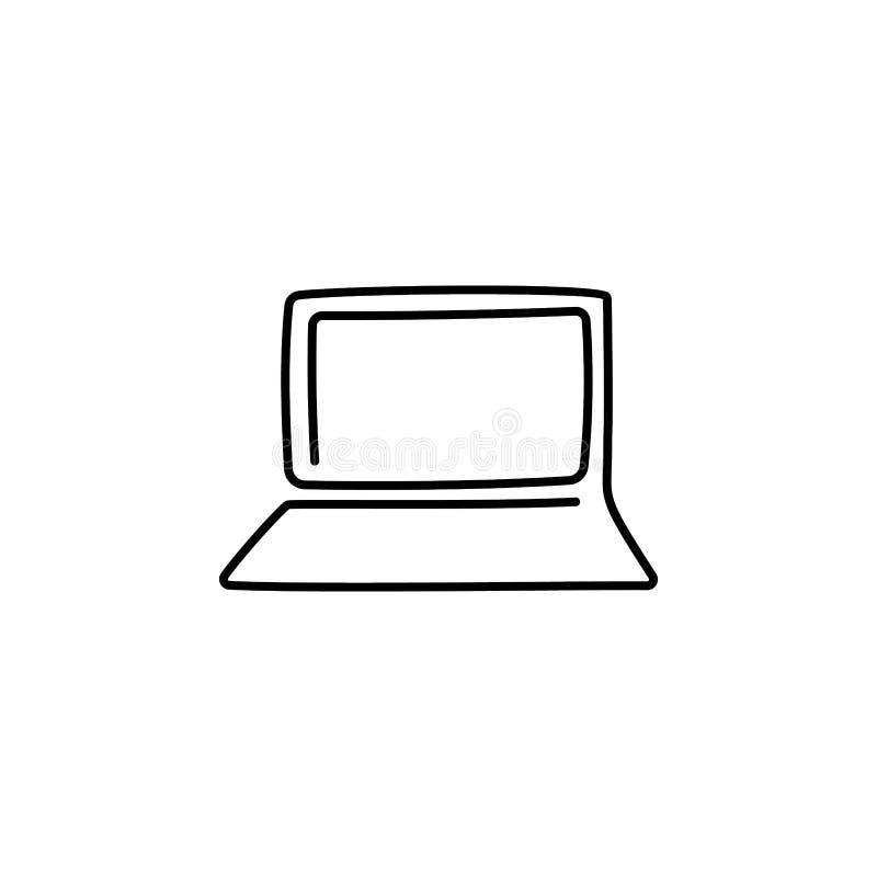 Laptopvektor mit einer ununterbrochenen Kunstzeichnung der einzelnen Zeile vektor abbildung