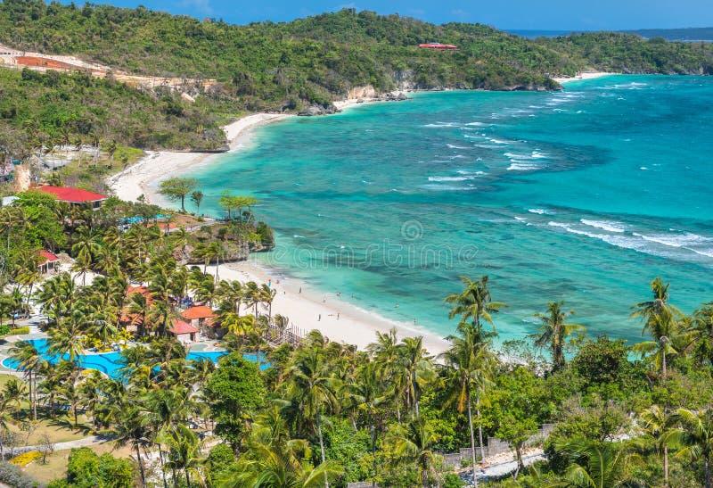 Lapus-lapus海滩博拉凯海岛的看法 免版税库存图片