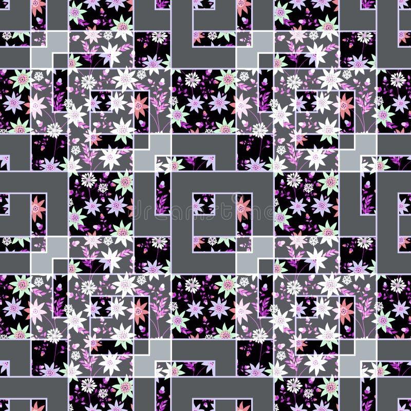 Lapwerk abstracte naadloze bloemen, de lichte achtergrond van de patroontextuur met decoratieve elementen stock illustratie