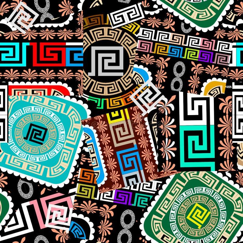 Lapwerk kleurrijk naadloos patroon Geometrische Griekse stijl vectorachtergrond Kleurrijke Vectorillustratie De abstracte Griekse stock illustratie