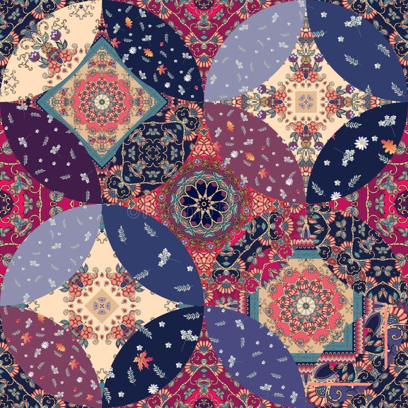 Lapwerk naadloos patroon met decoratieve mandala en bloemenflarden Druk voor stof en textiel met etnische motieven royalty-vrije illustratie