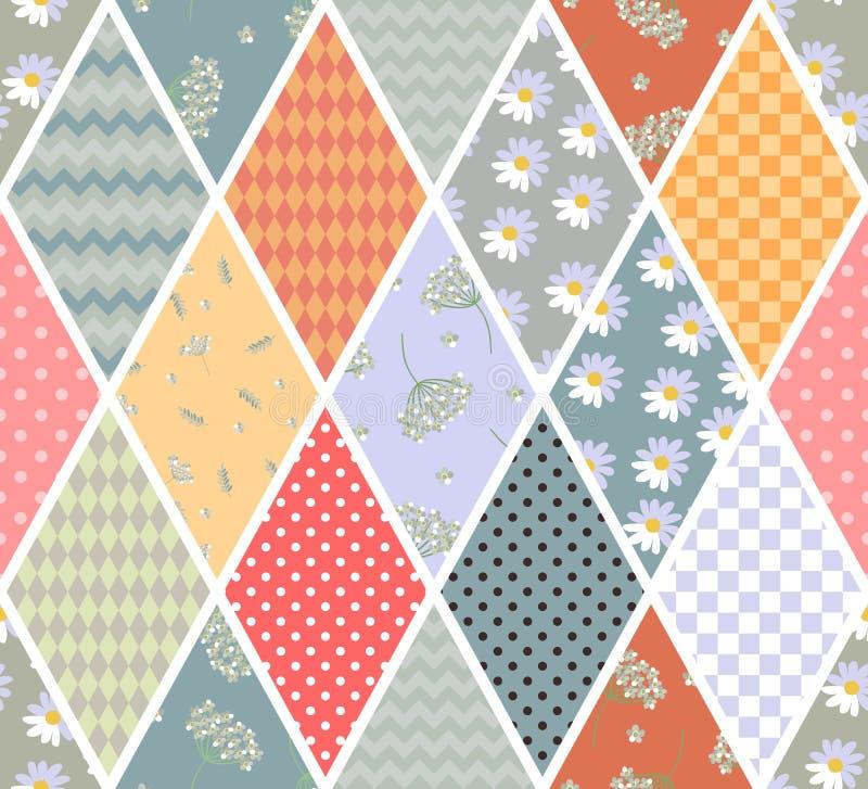 Lapwerk naadloos patroon van verschillende ruitflarden met geometrisch en bloemenornament Dekbedontwerp in uitstekende stijl stock illustratie