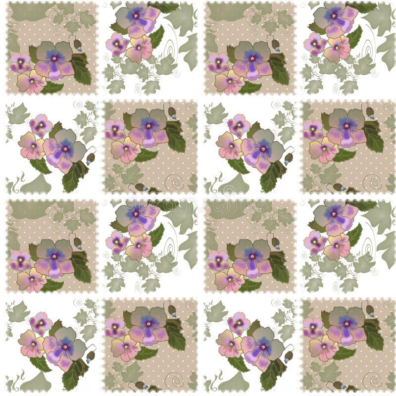Lapwerk naadloos retro patroon met bloemen stock illustratie