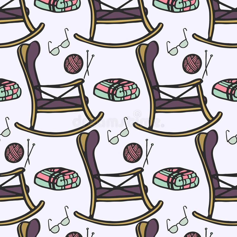 Lar de idosos Teste padrão sem emenda com a cadeira desenhado à mão dos desenhos animados para o resto, a confecção de malhas, os ilustração do vetor