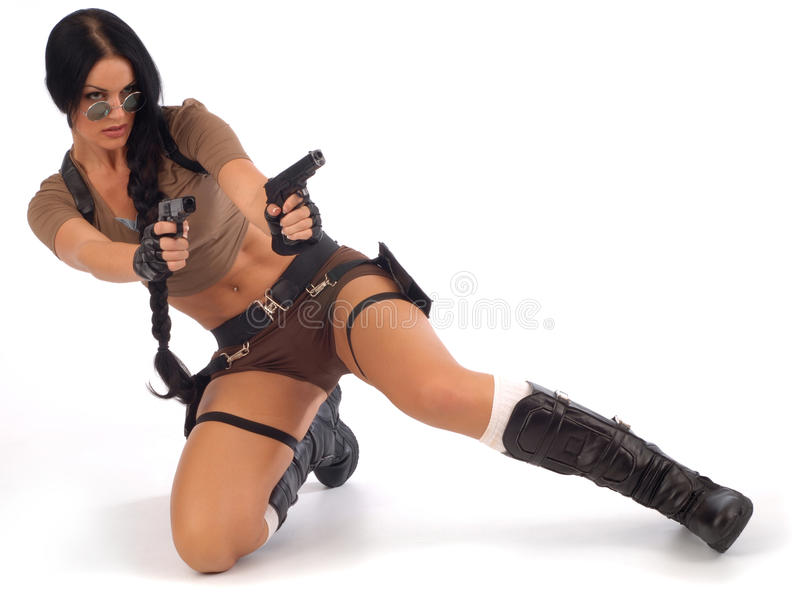Lara Croft on White royalty free stock image