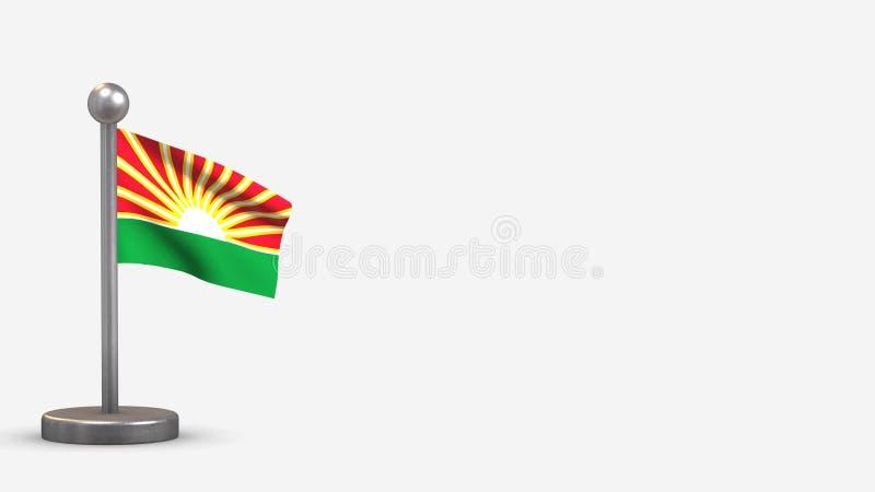 Lara 3D-våningsflagga på små flaggor royaltyfri illustrationer