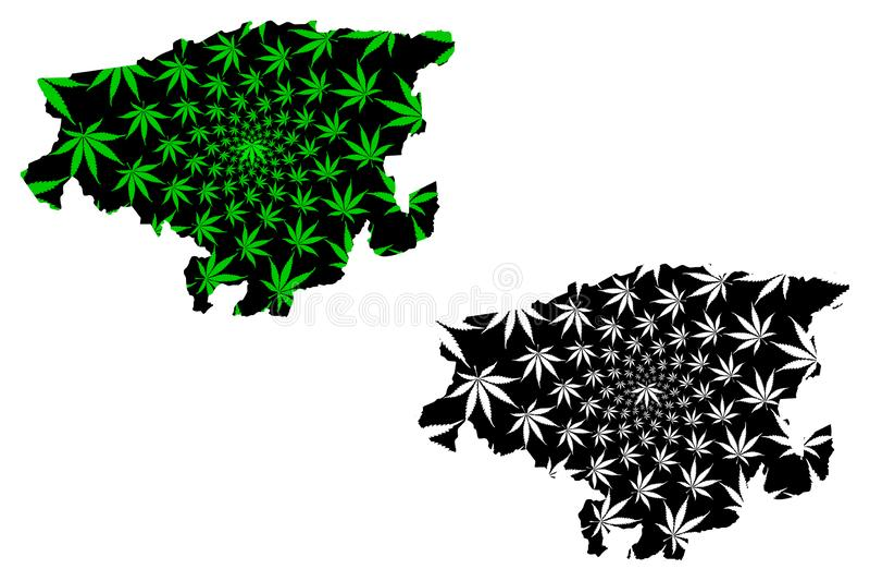 Lara State Bolivarian Republic of Venezuela, States, Federal Dependencies and Capital District map är utformad som cannabisblad vektor illustrationer
